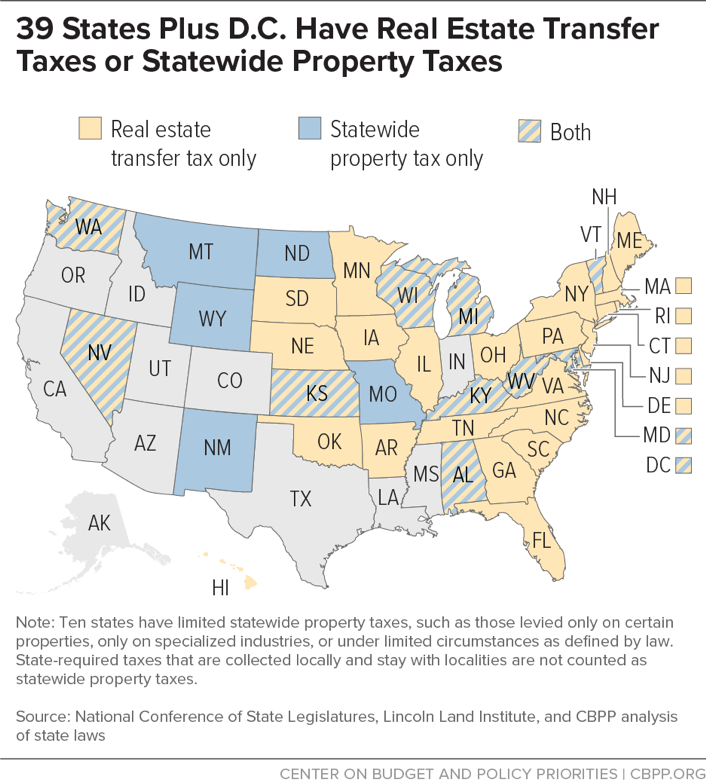 39 States Plus D.C. Have Real Estate Transfer Taxes or Statewide Property Taxes