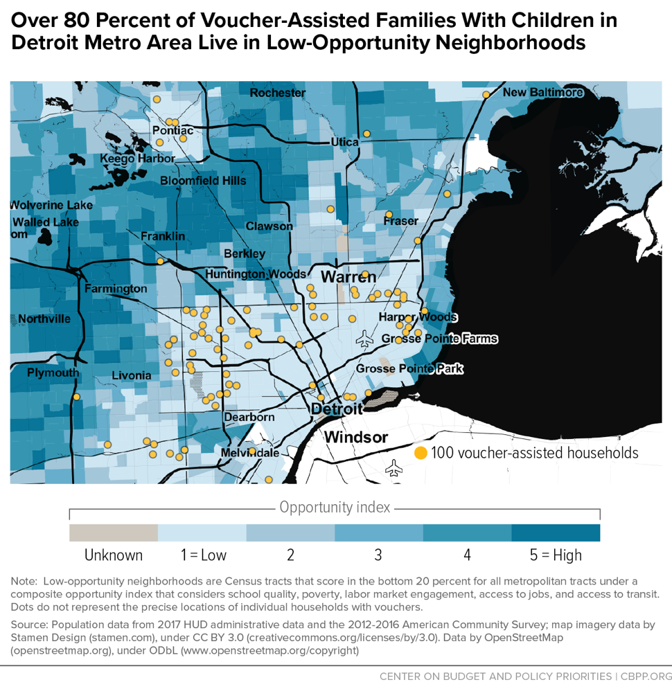 Over 80 Percent of Voucher-Assisted Families With Children in Detroit Metro Area Live in Low-Opportunity Neighborhoods