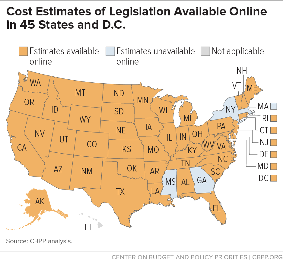 Cost Estimates of Legislation Available Online in 45 States and D.C.