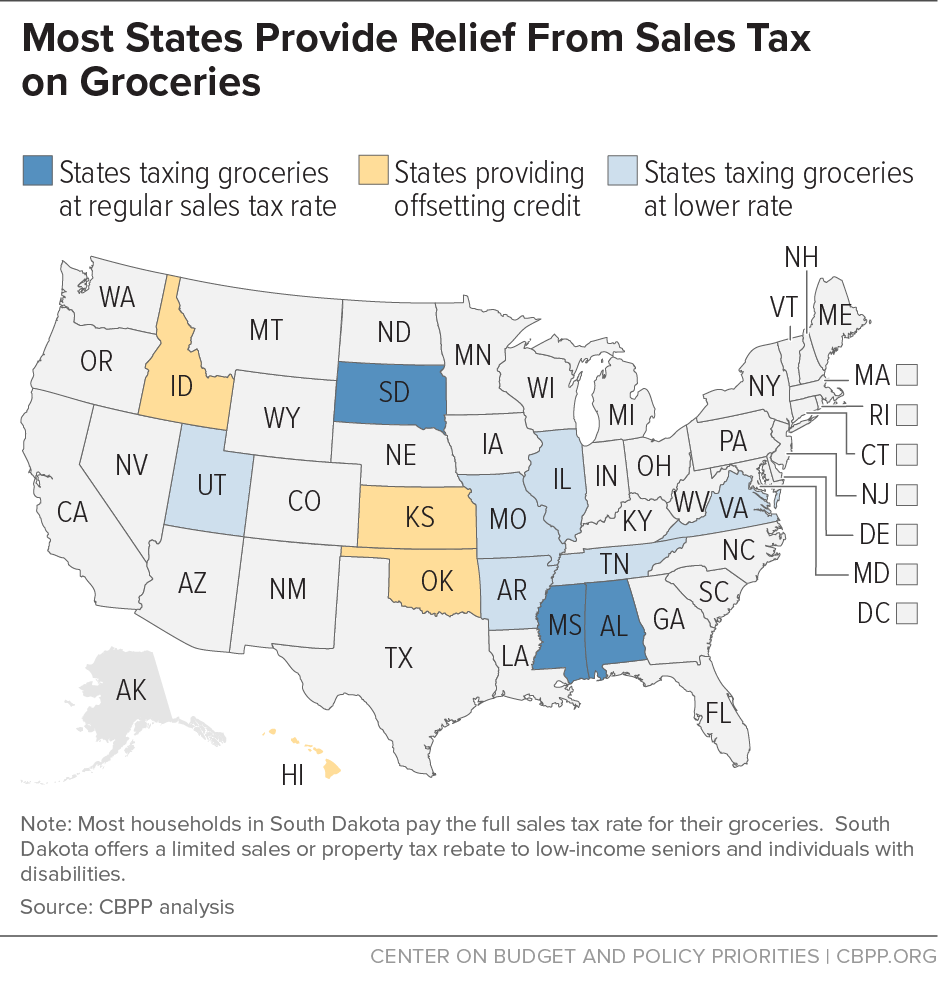 Most States Provide Relief From Sales Tax on Groceries