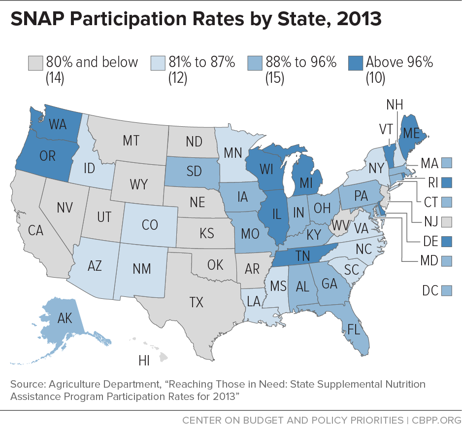 SNAP Participation Rates by State, 2013
