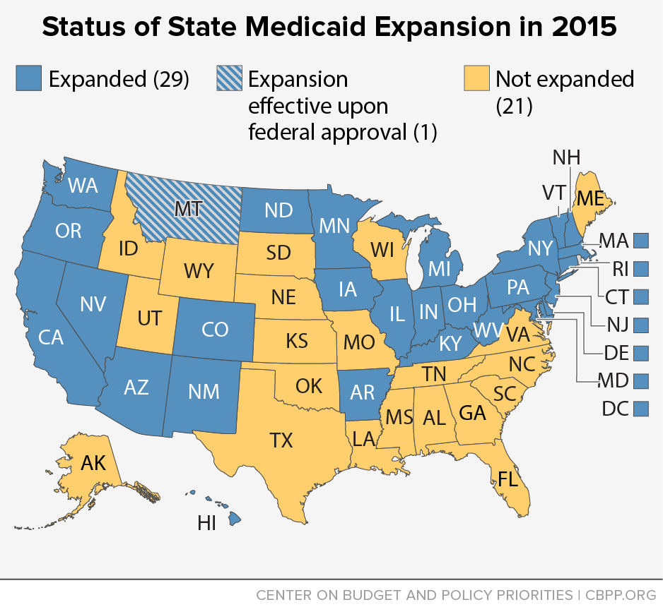 Status of State Medicaid Expansion in 2016