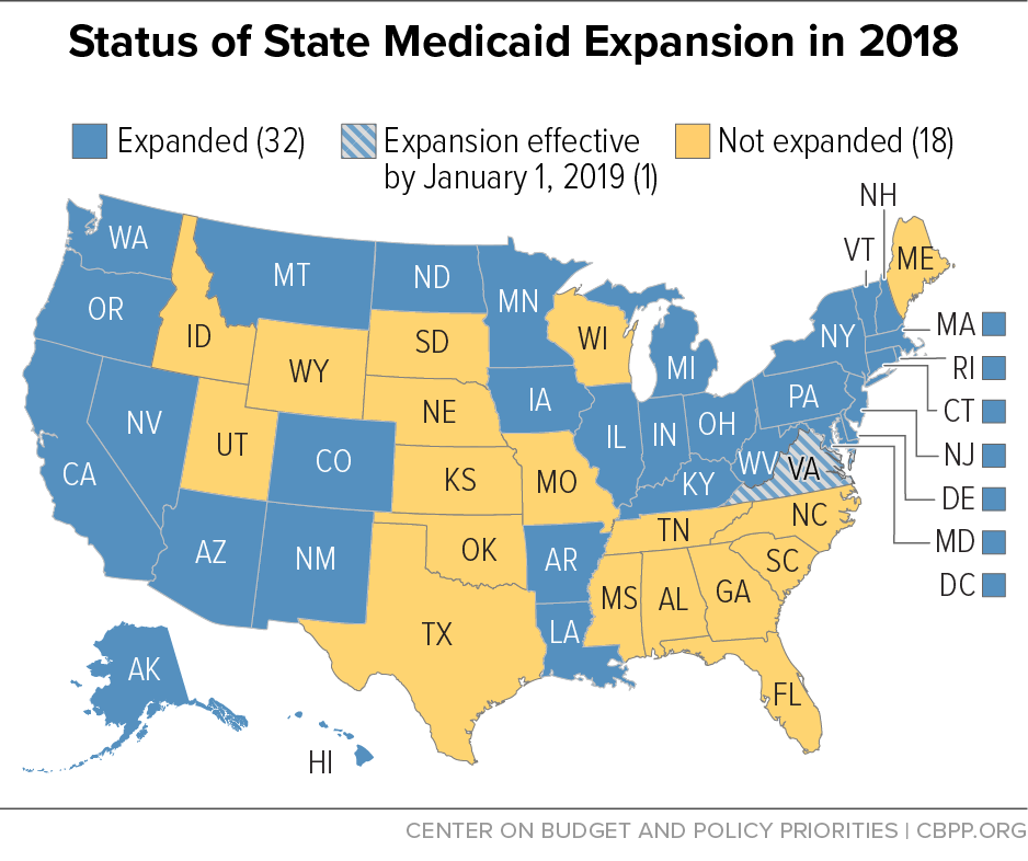 Status of State Medicaid Expansion in 2018