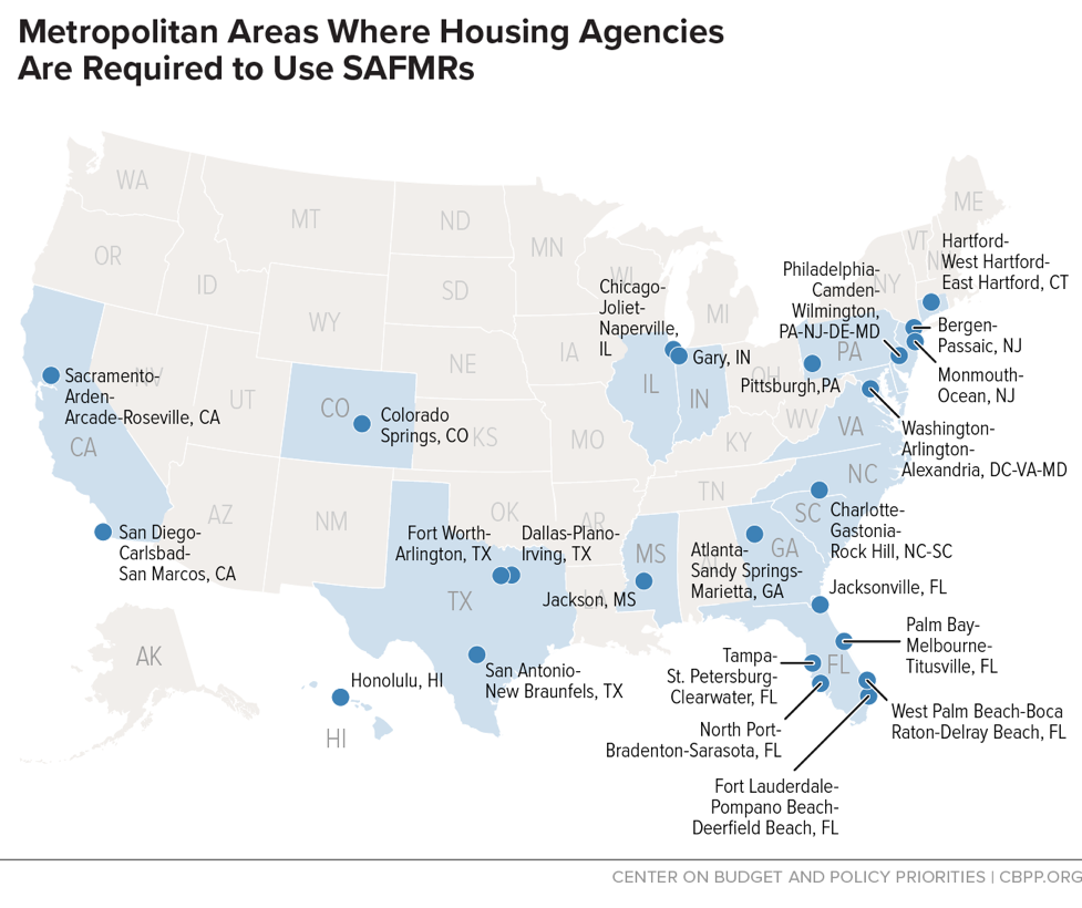 Metropolitan Areas Where Housing Agencies Are Required to Use SAFMRs