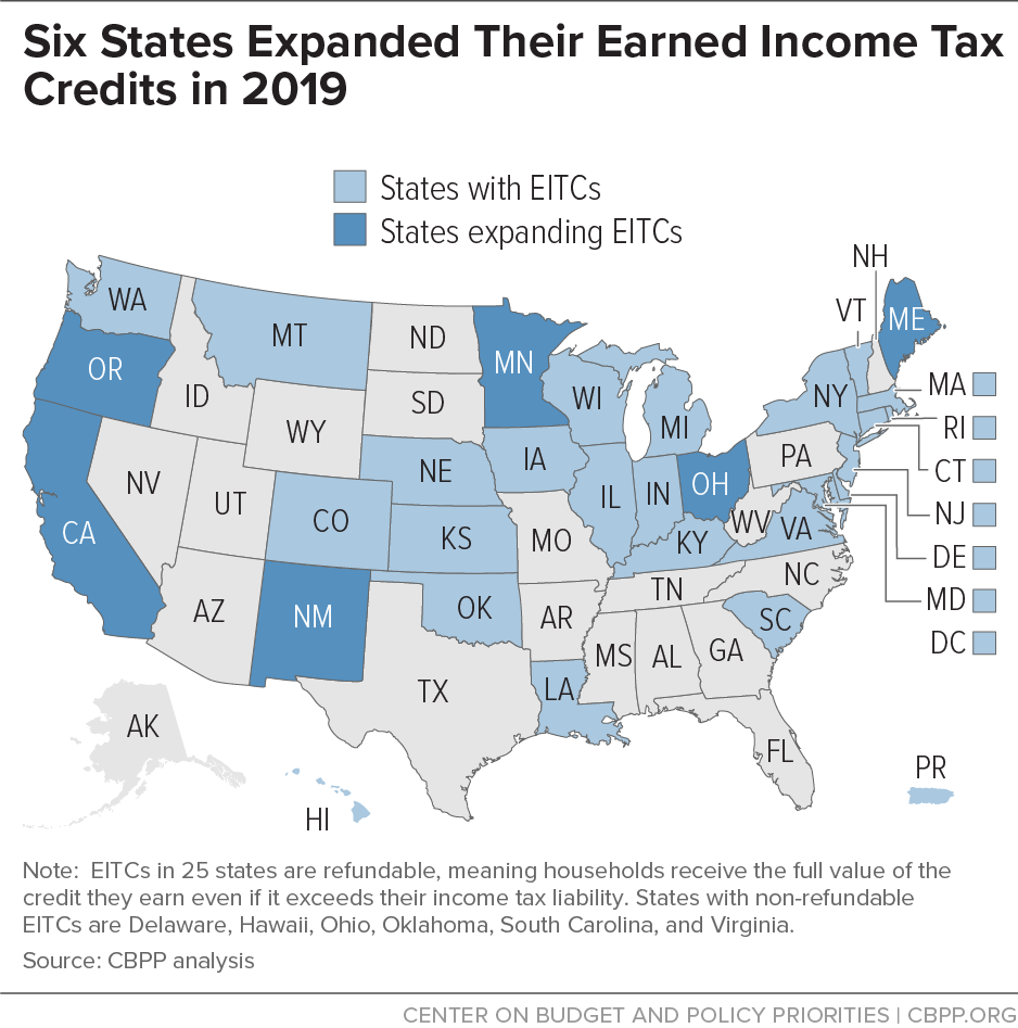 Six States Expanded Their Earned Income Tax Credits in 2019