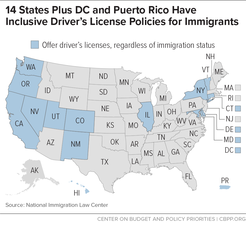 14 States Plus DC and Puerto Rico Have Inclusive Driver's License Policies for Immigrants