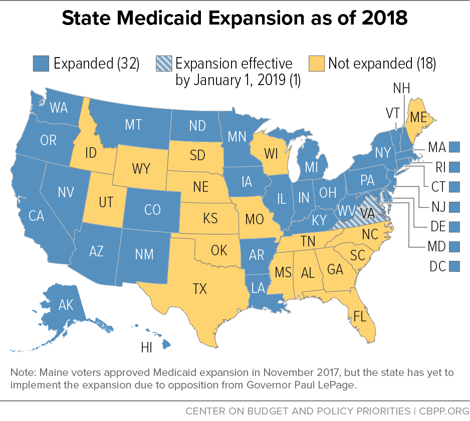 State Medicaid Expansion as of 2018