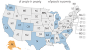 poverty fell in just 12 states in 2014 - share of PEOPLE