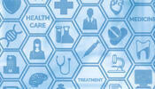 "Image with health-related icons and text reading ""Health care"" ""Treatment"" and ""Medicine"""