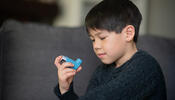 Young child with inhaler