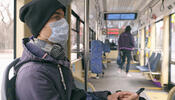 Person wearing mask on public transit
