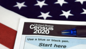 U.S. census form with flag