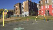 Playground behind rowhomes
