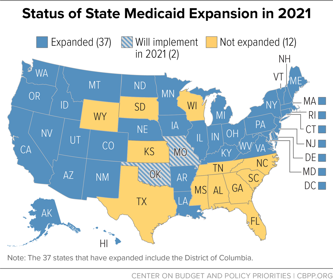 Status of State Medicaid Expansion in 2021