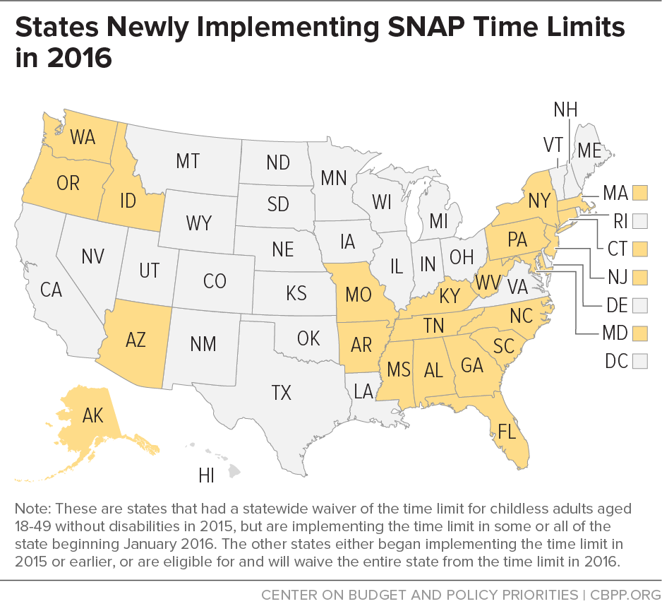 States Newly Implementing SNAP Time Limits in 2016