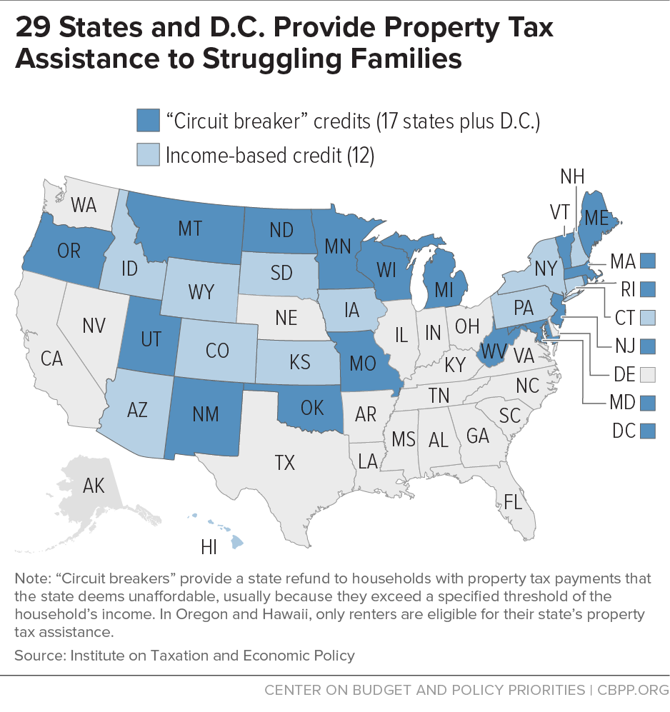 29 States and D.C. Provide Property Tax Assistance to Struggling Families