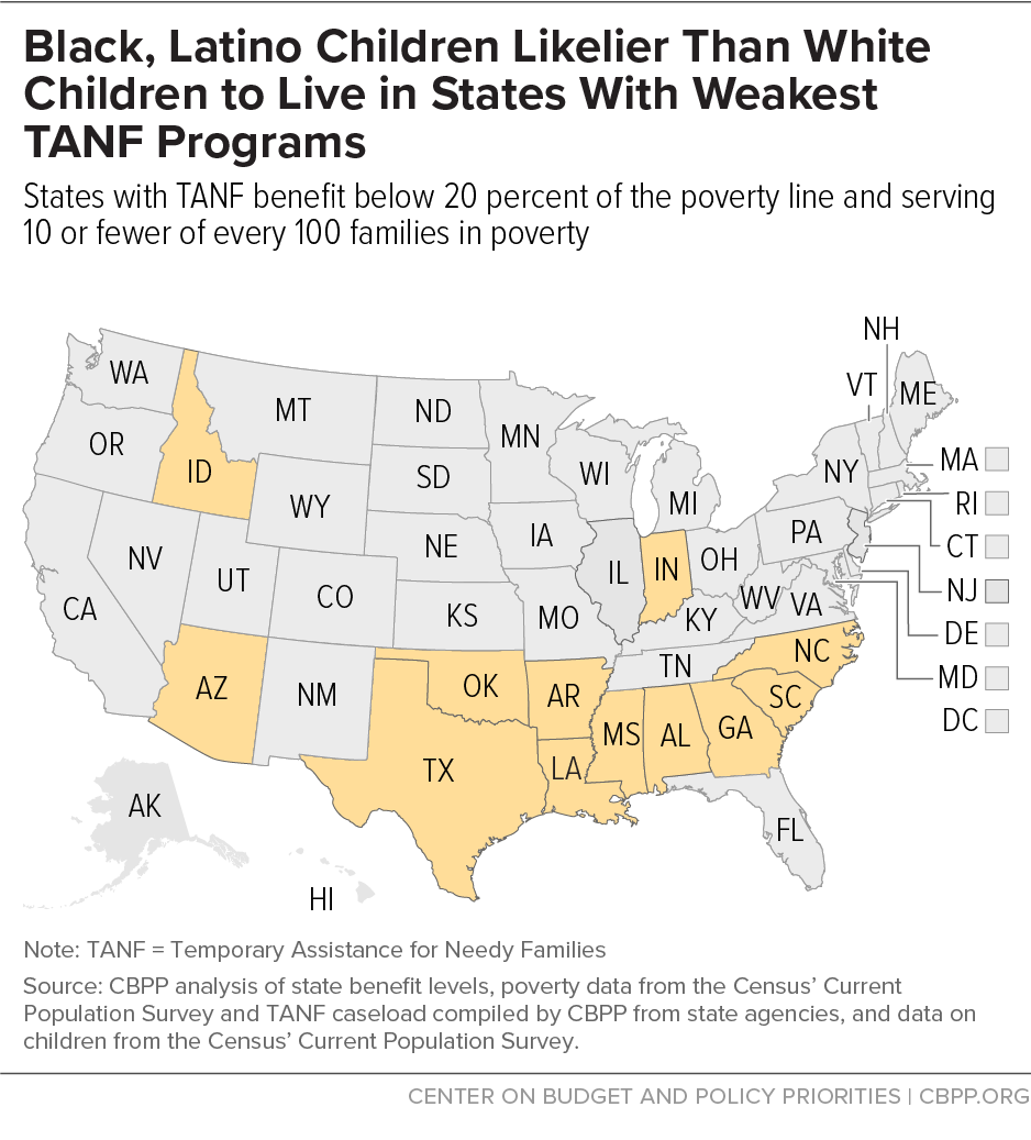 Black, Latino Children Likelier Than White Children to Live in States With Weakest TANF Programs