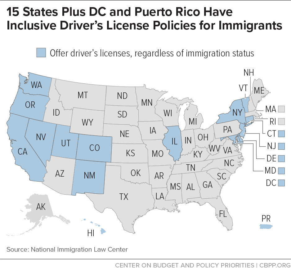 15 States Plus DC and Puerto Rico Have Inclusive Driver's License Policies for Immigrants