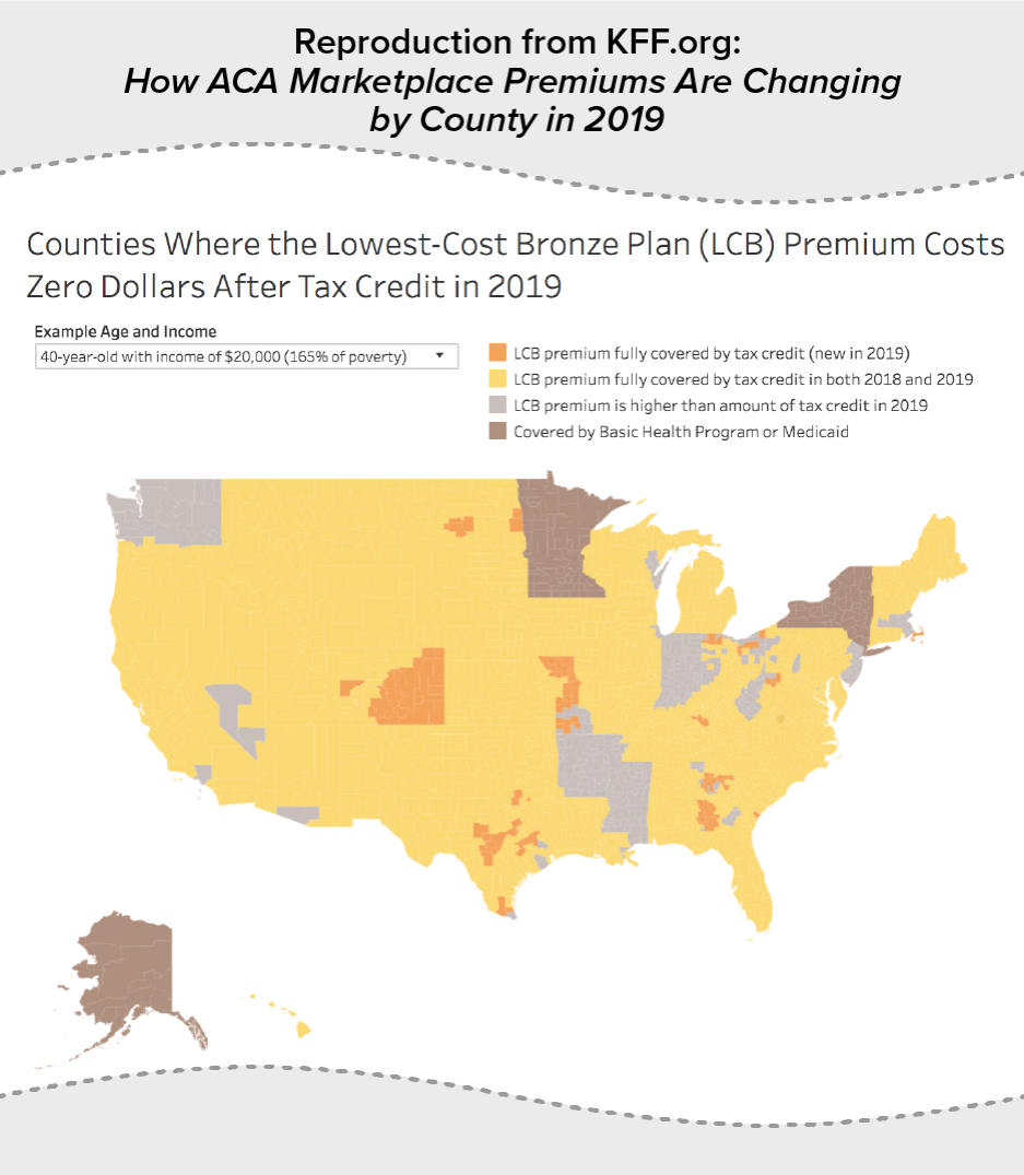 Reproduction from KFF.org: How ACA Marketplace Premiums Are Changing by County in 2019