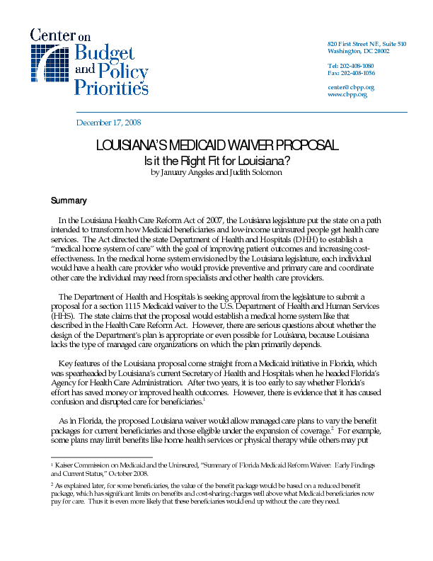Louisiana's Medicaid Waiver Proposal | Center on Budget and