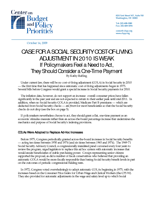 Case For A Social Security Cost Of Living Adjustment In
