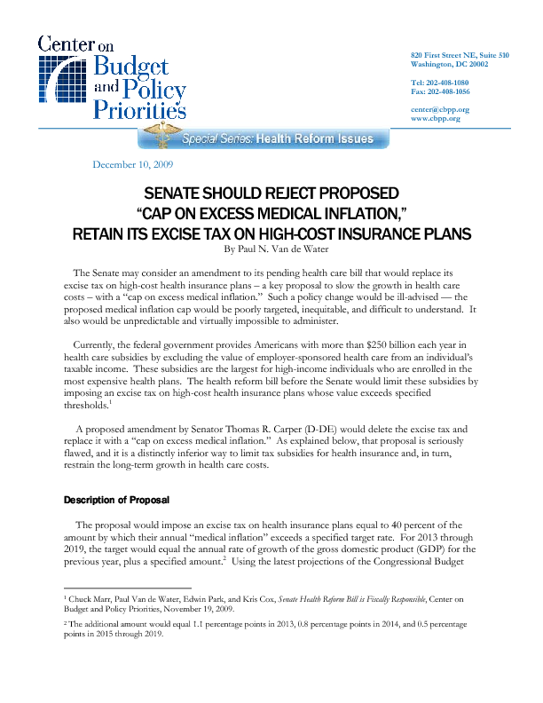 """Senate Should Reject Proposed """"Cap on Excess Medical"""