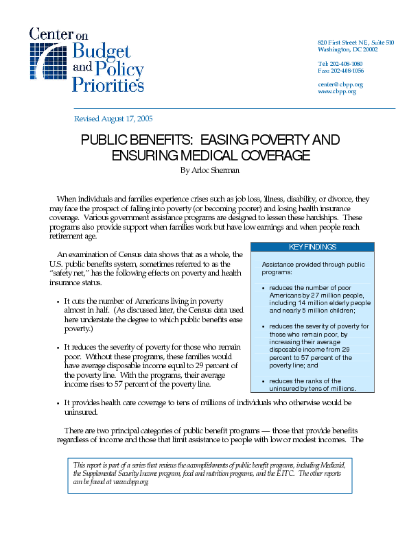 Public Benefits Easing Poverty And Ensuring Medical Coverage