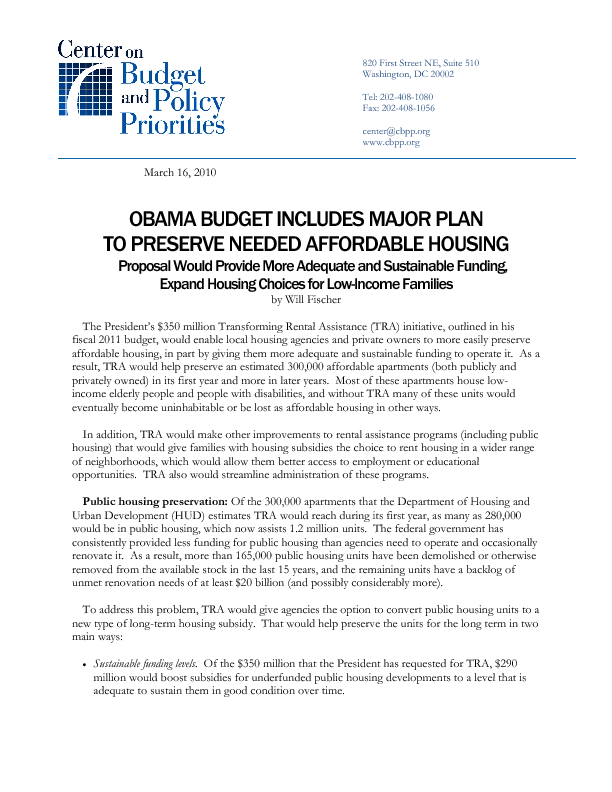 Obama Budget Includes Major Plan to Preserve Needed Affordable