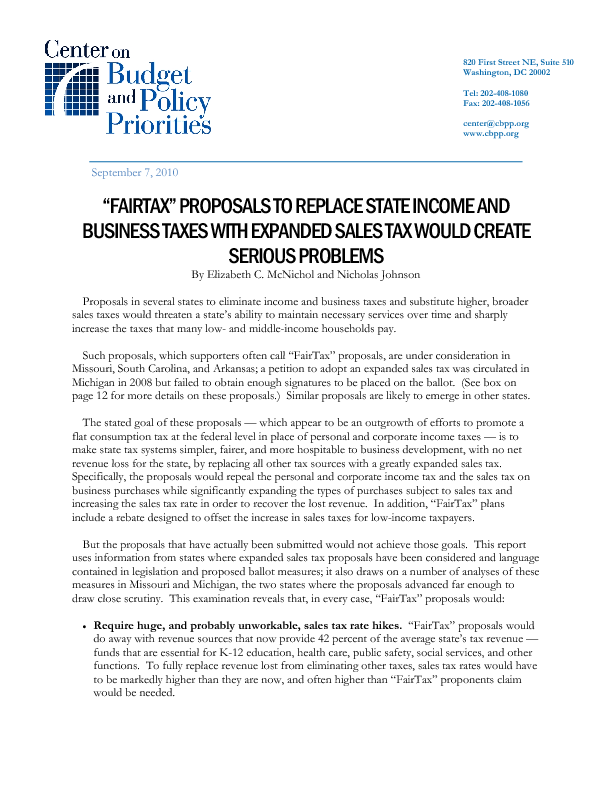Fairtax Proposals To Replace State Income And Business Taxes With