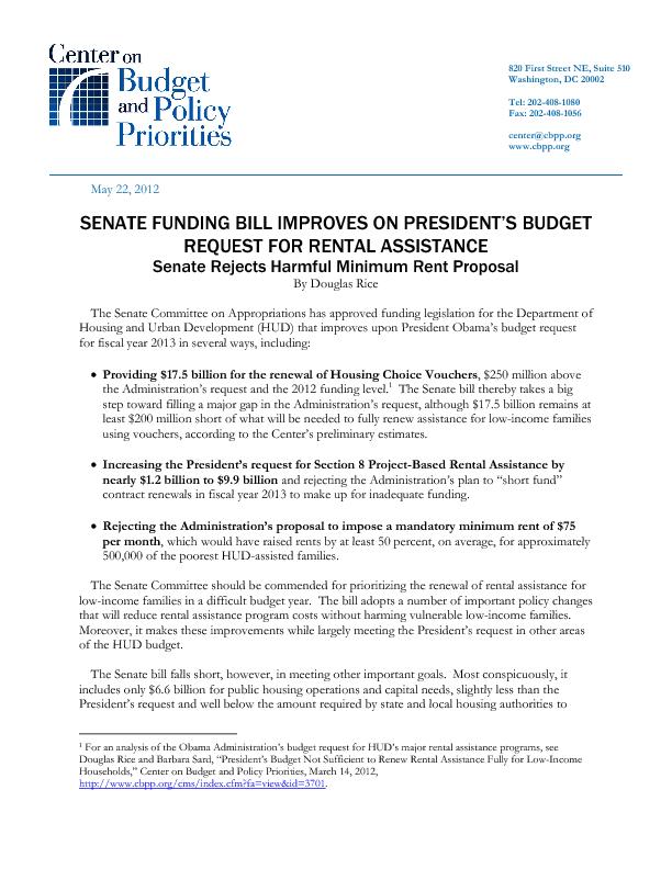 Senate Funding Bill Improves on President's Budget Request for