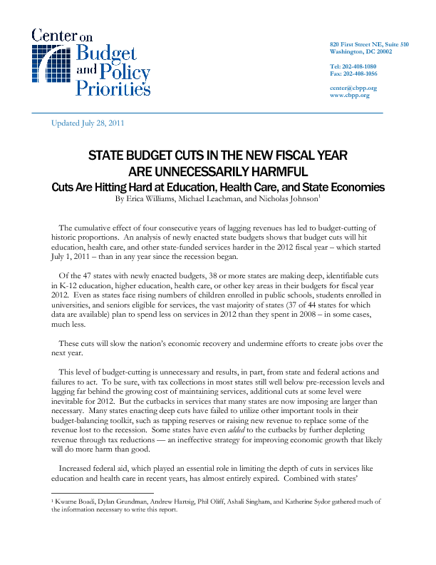 State Budget Cuts In The New Fiscal Year Are Unnecessarily Harmful