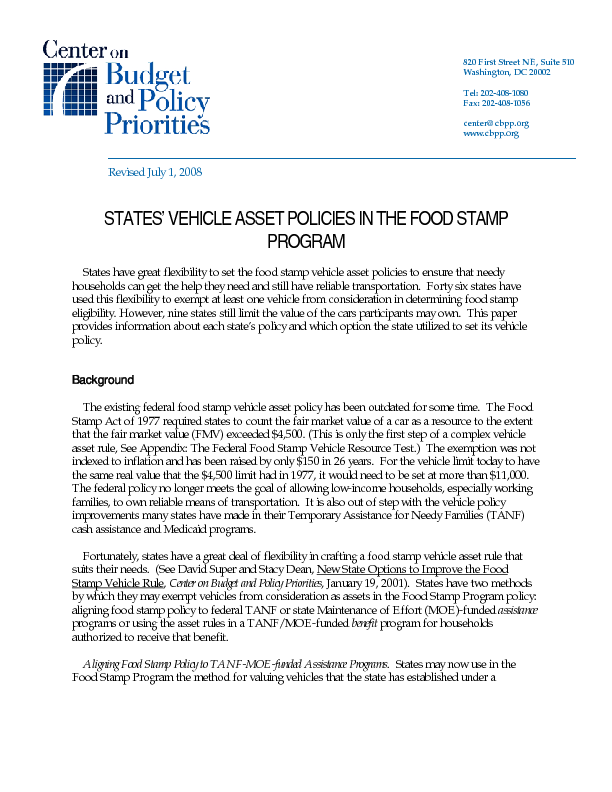 States vehicle asset policies in the food stamp program center file type icon ccuart Images