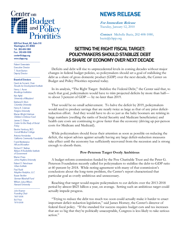 Press Release: Setting The Right Fiscal Target: Policymakers