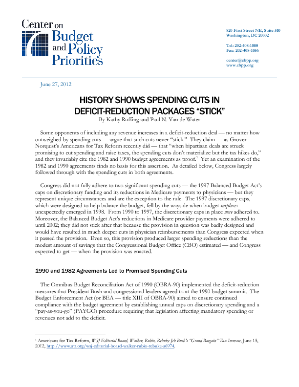 History Shows Spending Cuts In Deficit Reduction Packages Stick