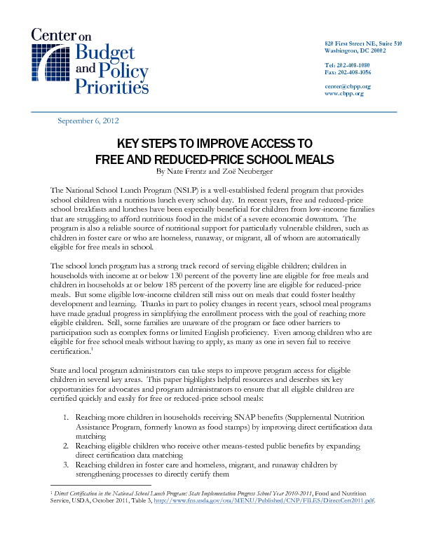 key steps to improve access to free and reduced price school meals