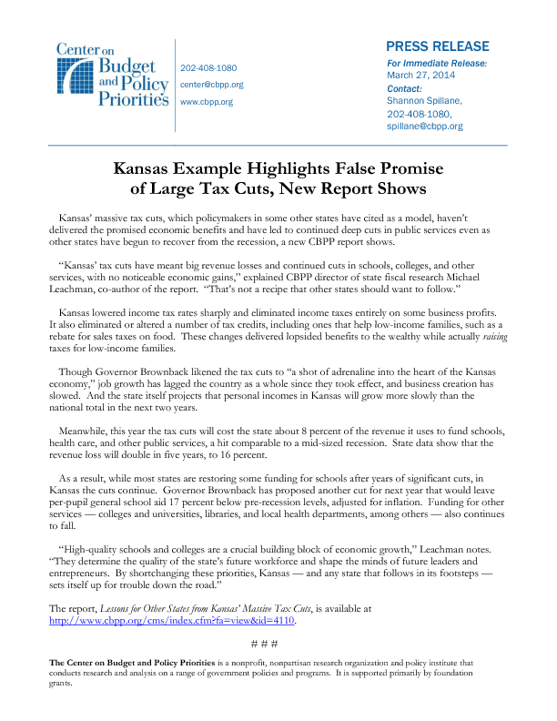 kansas example highlights false promise of large tax cuts new
