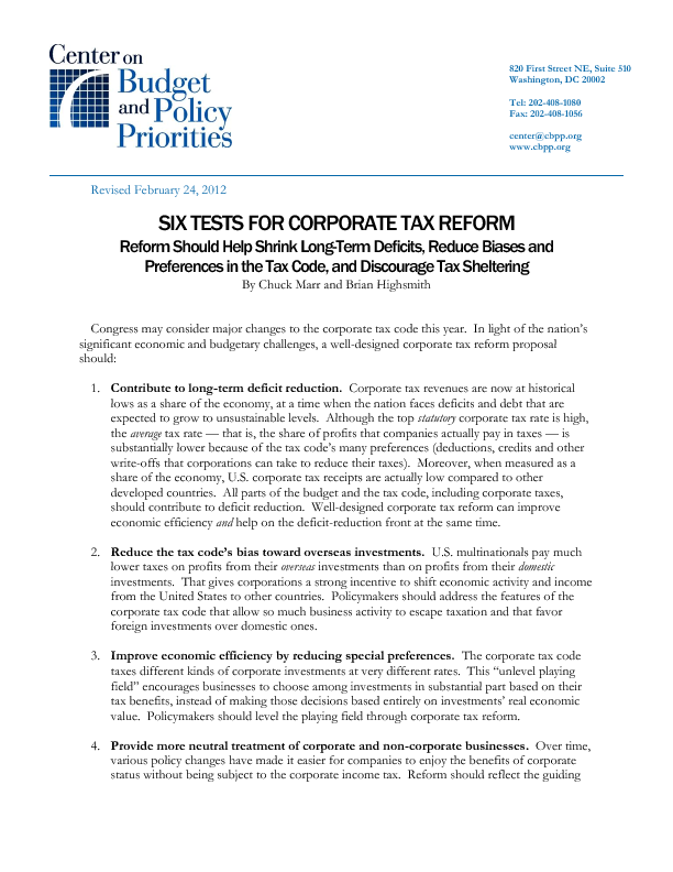 Six Tests For Corporate Tax Reform Center On Budget And Policy