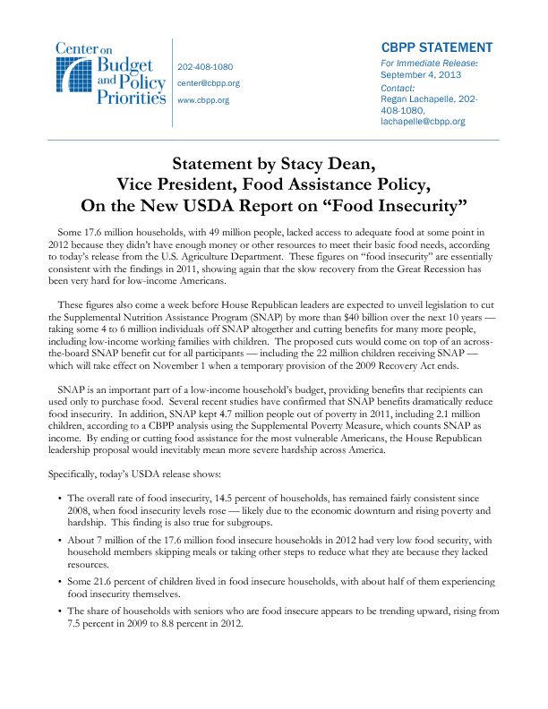 Statement By Stacy Dean Vice President Food Assistance Policy On