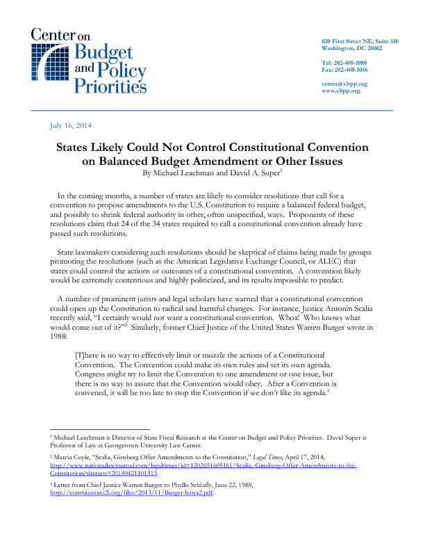 States Likely Could Not Control Constitutional Convention on ...