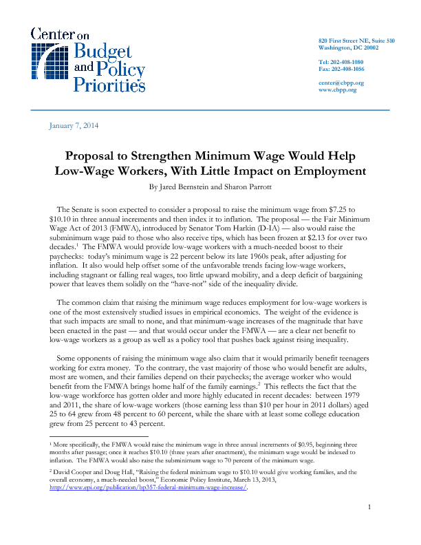 Proposal To Strengthen Minimum Wage Would Help Low Wage Workers