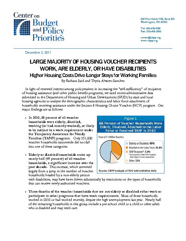 Large Majority of Housing Voucher Recipients Work, are
