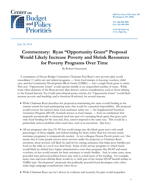 Commentary Ryan Opportunity Grant Proposal Would Likely Increase
