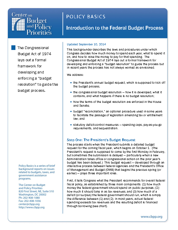 Bush Submits Budget To Congress Thats >> Policy Basics Introduction To The Federal Budget Process Center
