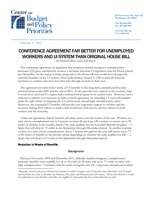 Conference Agreement Far Better For Unemployed Workers And Ui System