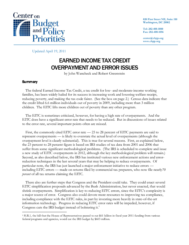earned income credit research paper
