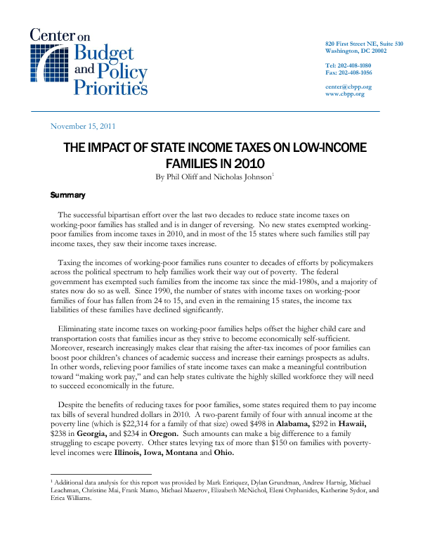 The impact of state income taxes on low income families in 2010 share ccuart Image collections