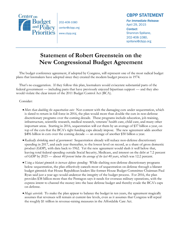 Statement Of Robert Greenstein On The New Congressional Budget