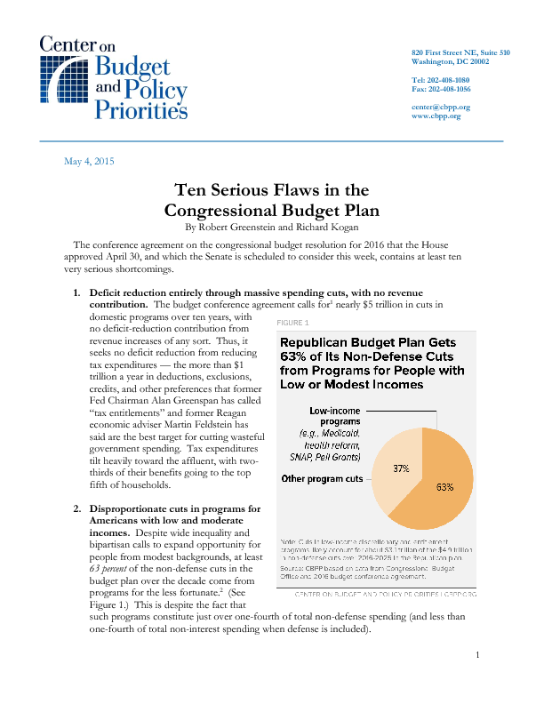 Ten Serious Flaws In The Congressional Budget Plan Center On