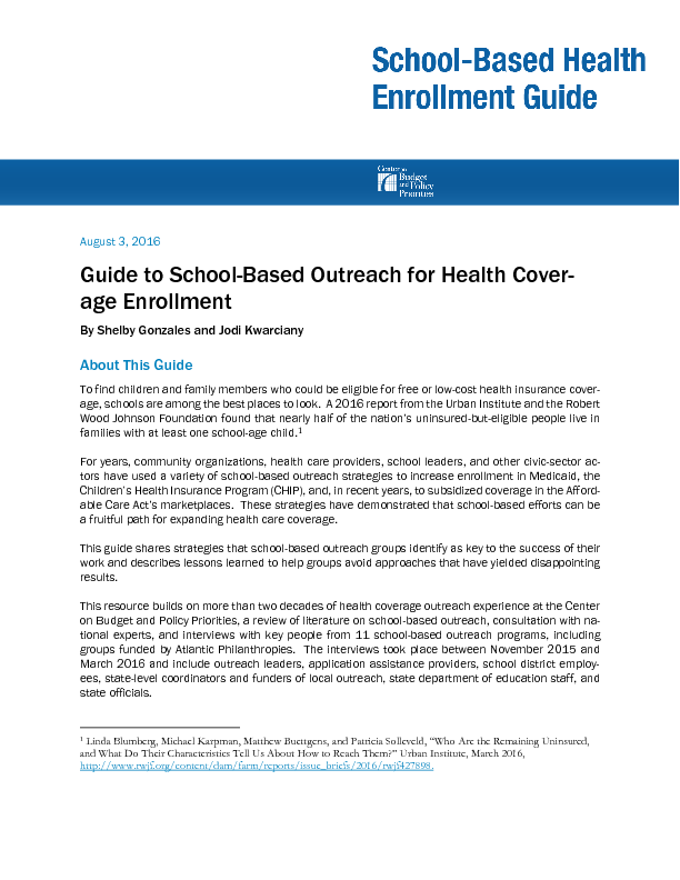 guide to school based outreach for health coverage enrollment