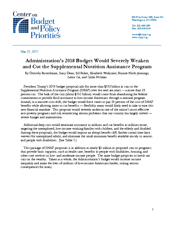 Administrations 2018 Budget Would Severely Weaken And Cut The